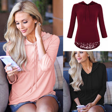 Load image into Gallery viewer, Hooded Panel Lace Long Sleeve Top