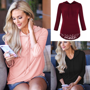Hooded Panel Lace Long Sleeve Top