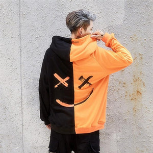 Loose Hip Hop Smiley Stitching Hoodie