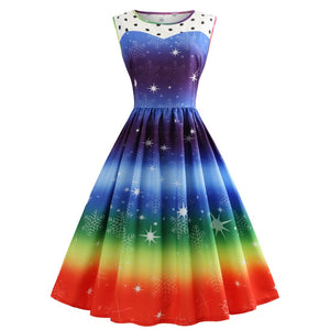 Rainbow Color Printed Sleeveless Christmas Vintage Dress