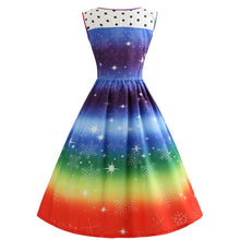 Load image into Gallery viewer, Rainbow Color Printed Sleeveless Christmas Vintage Dress