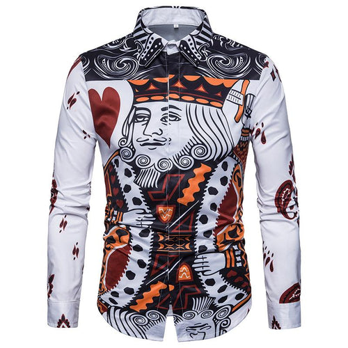 Men's Casual Business Poker Long Sleeve Shirt