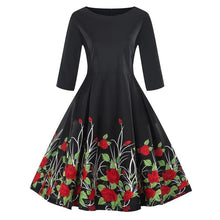 Load image into Gallery viewer, Floral Blossom Vintage Swing Dress