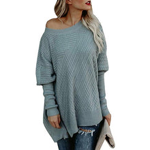 Load image into Gallery viewer, Fashion Sweater Zipper Bat Sleeve Off Shoulder Sweater