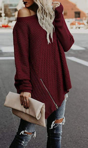 Fashion Sweater Zipper Bat Sleeve Off Shoulder Sweater