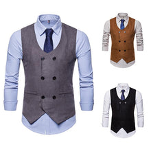 Load image into Gallery viewer, Men's Suede V-Neck Double-Breasted Vest Waistcoat