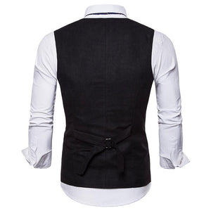 Men's Suede V-Neck Double-Breasted Vest Waistcoat