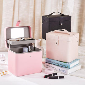 PU Large Capacity Portable Makeup Storage Box with Mirror