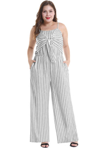 Plus Size Sling Stripe Jumpsuit