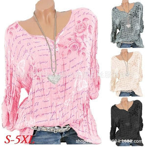 Fashion Butterfly Flower Long Sleeve V-neck Print Loose T-Shirt