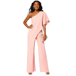 Strap Collar OFF Shoulder Solid Color High Waist Wide Leg Jumpsuit