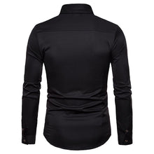 Load image into Gallery viewer, Men's Casual Business Rose Embroidered Lapel Long Sleeve Shirt