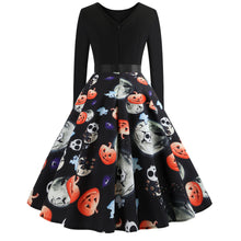 Load image into Gallery viewer, Halloween Pumpkin Skull Print Flare Dress