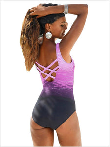 Blue Gradient Criss Cross Back One Piece Swimsuit