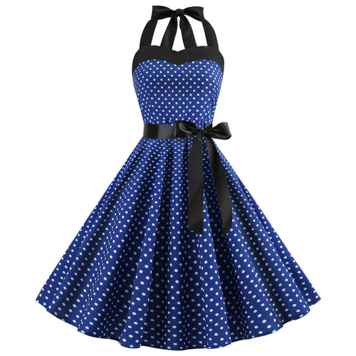 Fit and Flare Halter Polka Dot Printing Vintage Dress