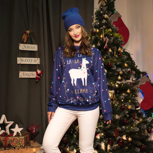 Christmas Cute Alpaca Printed Round Collar Sweatshirt