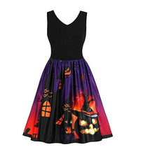 Load image into Gallery viewer, Halloween Vintage Printed Swing Dress