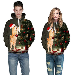 Cat Print Long Sleeve Pullover Sports Christmas Sweatshirt