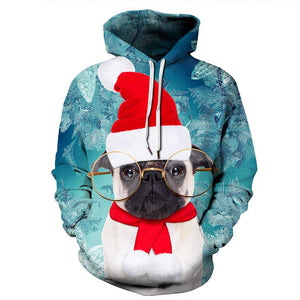 Christmas Dogs Print Hooded Sweater