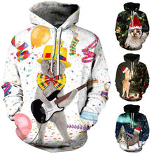 Load image into Gallery viewer, Christmas Intestine Cats Print Long Sleeve Hoodie