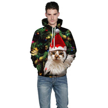 Load image into Gallery viewer, Christmas Cat Print Long Sleeve Pullover Sweatshirt