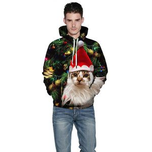 Christmas Cat Print Long Sleeve Pullover Sweatshirt