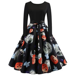 Halloween Pumpkin Skull Print Flare Dress