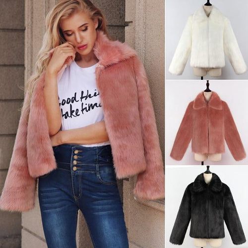 Casual Lapel Faux Fur Short Coat