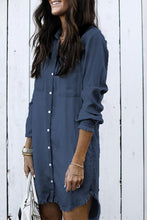 Load image into Gallery viewer, Women Long Sleeve Tunic Dress Denim with Pockets