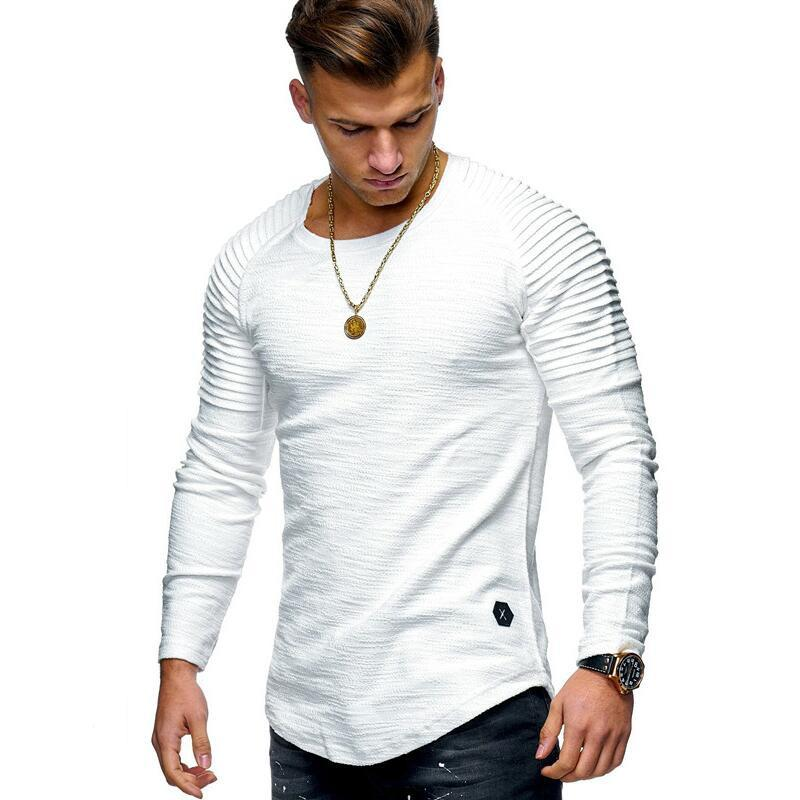 Men's Cotton Casual Slim Pleated Raglan Sleeve Long Sleeve T-Shirt