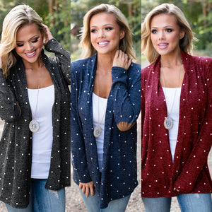 Women's Stitching Dot Print Cardigan