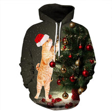 Load image into Gallery viewer, Cat Print Long Sleeve Pullover Sports Christmas Sweatshirt