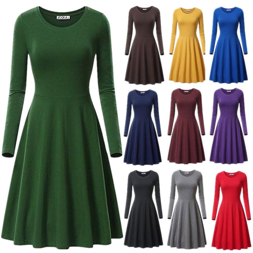 Round Neck Long Sleeve Loose Solid Color Sexy Dress