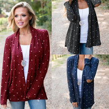 Load image into Gallery viewer, Women's Stitching Dot Print Cardigan