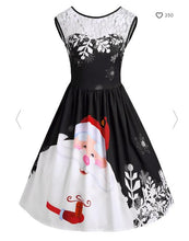 Load image into Gallery viewer, Lace Insert Santa Claus Print Party Christmas Dress