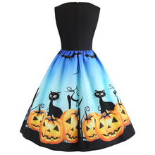 Load image into Gallery viewer, Lace Panel Bat Pumpkin Sleeveless Halloween Dress