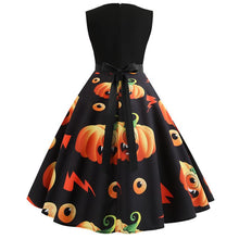 Load image into Gallery viewer, Halloween Pumpkin Print Sleeveless Flare Dress