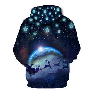 Galaxy Elk  Printed Hooded Xmas Sweatshirt