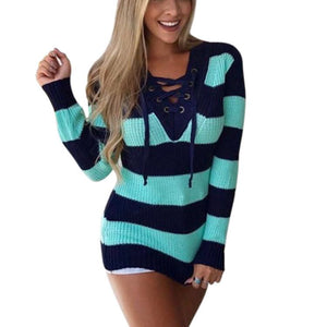 V-neck Tie Colorful Striped Sweater