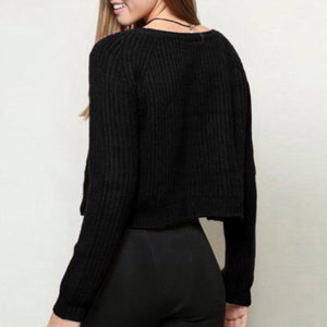 Long Sleeve Casual Crop Slim Solid Knitted Sweater
