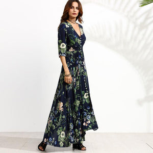 Fashion Floral Button Up V-neck Women Half Sleeve Long Flowy Swing Boho Maxi Dress