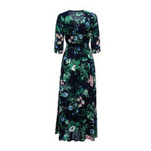 Load image into Gallery viewer, Fashion Floral Button Up V-neck Women Half Sleeve Long Flowy Swing Boho Maxi Dress
