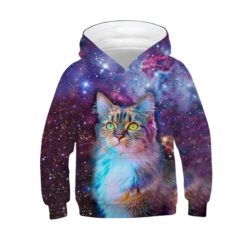 Children's 3D Cat Digital Print Casual Hoodie
