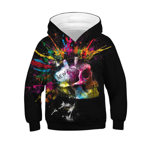 Children's Painted Skull Digital Print Hoodie