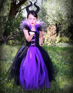 Girls Halloween Evil Queen Children Play Costume Handmade Knit Dress Kids Dress Children's Dress