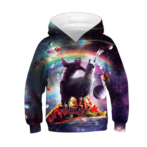 Children's Rainbow Grass Mud Horse Digital Print Hoodie
