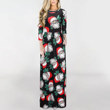 Load image into Gallery viewer, Santa Print  3/4 Sleeve Party Christmas Dresses