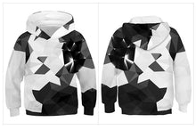 Load image into Gallery viewer, Children's Black and White Square Print Hooded Sweatshirt
