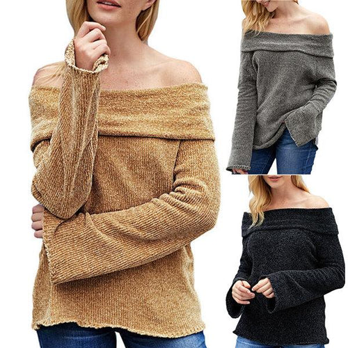 Strapless Long Sleeve Knit Sweater