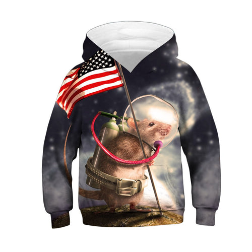 Children's American Flag Digital Print Hoodie Hoodie
